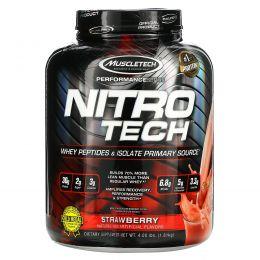 Muscletech, Nitro-Tech, сывороточный изолят для наращивания сухой мышечной массы, клубничный, 3.97 фунта (1.80 кг)