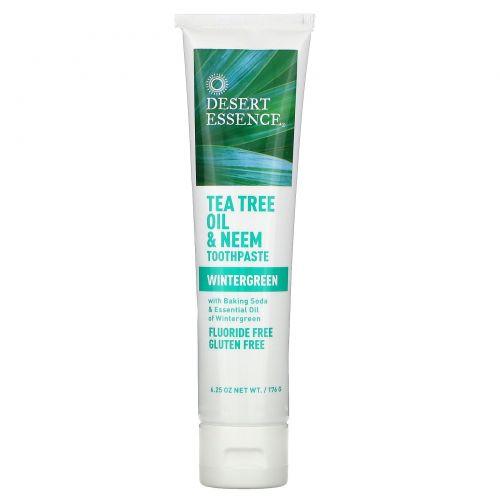 Desert Essence, Натуральное масло чайного дерева и зубная паста с нимом, Wintergreen, 6.25 унций (176 г)