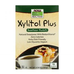 Now Foods, Ксилит Плюс, 75 пакетиков 4,76 унций (135 г)