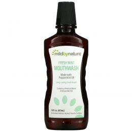 Mild By Nature, Mouth Wash, Made with Peppermint Oil, Long-Lasting Fresh Breath, Fresh Mint, 16 fl oz