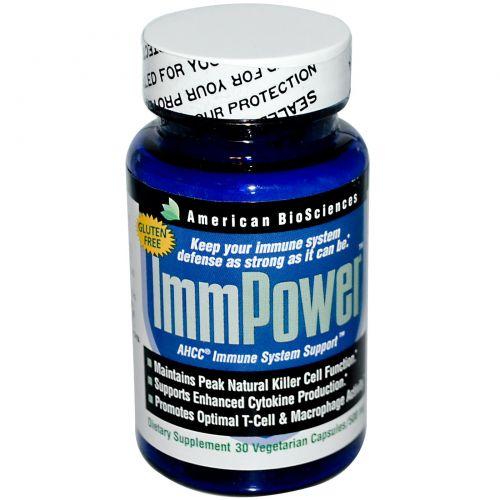 American Biosciences, ImmPower, поддержка иммунной системы с помощью AHCC (активный гексо состав), 500 мг, 30 растительных капсул