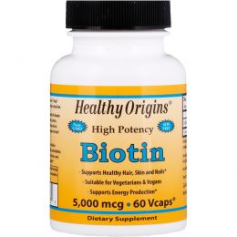 Healthy Origins, Biotin, 5,000 mcg, 60 Vcaps