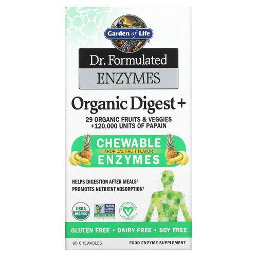 Garden of Life, Dr. Formulated Энзимы, Органическое усвоение +, Тропический вкус, 90 жевательных таблеток