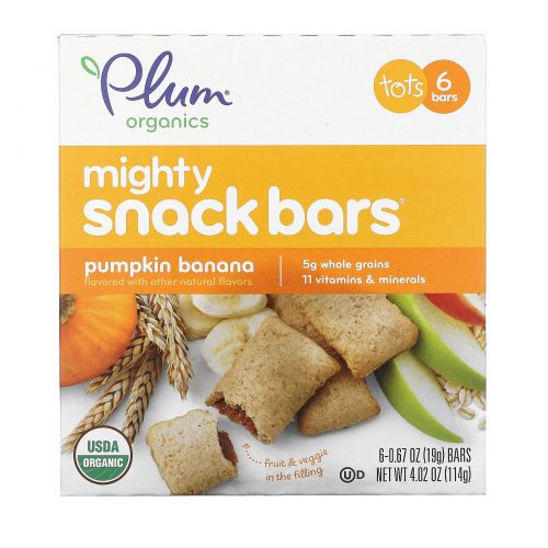 Plum Organics, Mighty, Snack Bars, Tots, Pumpkin Banana, 6 Bars, 0.67 oz (19 g) Each