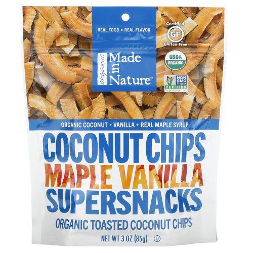 Made in Nature, Органические поджаренные кокосовые чипсы, клен и мадагаскарская ваниль, 3,0 унции (85 г)