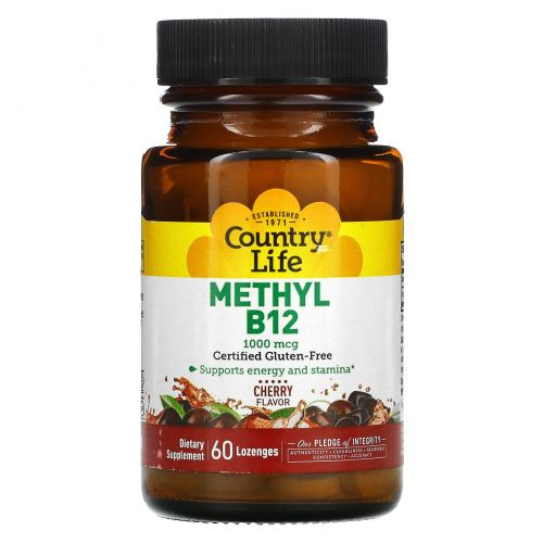 Country Life, Метил B12, вишневый ароматизатор, 1000 мкг, 60 леденцов
