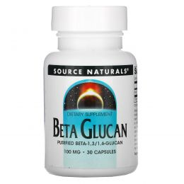 Source Naturals, Бета-глюкан (Beta Glucan), 100 мг, 30 капсул