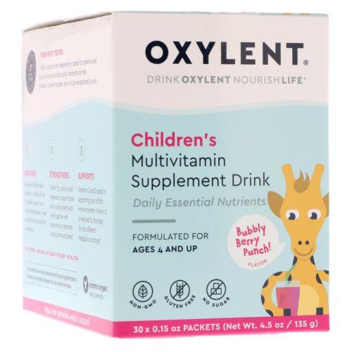 Vitalah, Oxylent для детей, мультивитаминный напиток, со вкусом шипучих ягод, 30 тонких пакетиков по 4.5 г