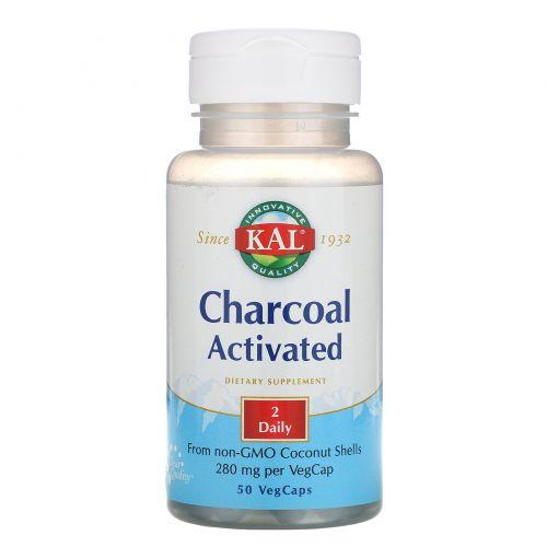 KAL, Активированный уголь, 280 мг, 50 капсул