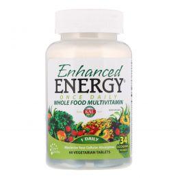 KAL, Enhanced Energy, мультивитамины из цельных продуктов с дозировкой 1раз в день, 60 растительных таблеток