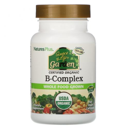 Nature's Plus, Source of Life Garden, Certified Organic B-Complex, 60 Vegan Capsules