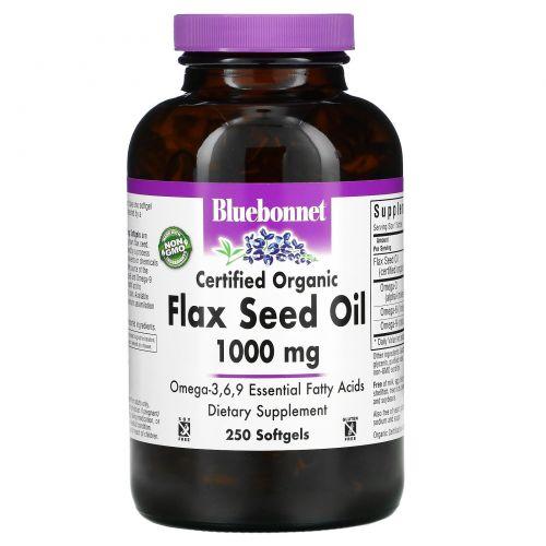 Bluebonnet Nutrition, Льняное масло, сертифицированное органическое, 1000 мг, 250 желатиновых капсул