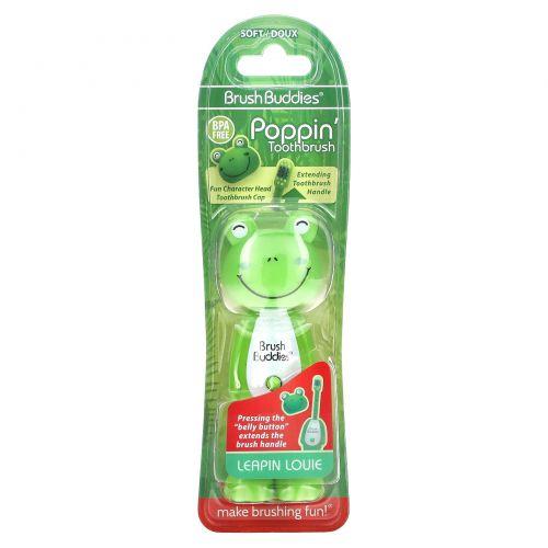 Brush Buddies, Poppin', лягушка Луи, мягкая, 1 зубная щетка