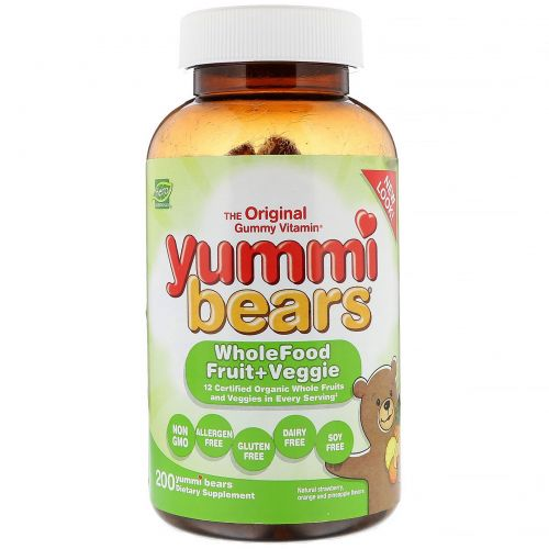 Hero Nutritional Products, Yummi Bears, Wholefood Fruit + Veggie, All Natural Fruit Flavors, 200 Gummy Bears