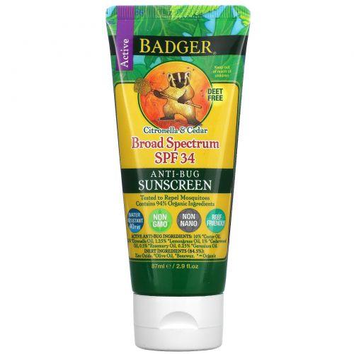 Badger Company, Крем от солнца и насекомых, широкий спектр SPF 34, 2.9 жидких унций (87 мл)