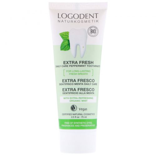 Logona Naturkosmetik, Extra Fresh Daily Care Peppermint Toothpaste, 2.5 fl oz (75 ml)