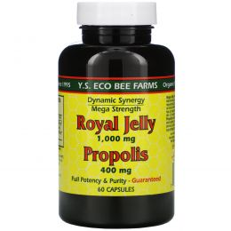 Y.S. Eco Bee Farms, Royal Jelly, Прополис, 1000 мг/400 мг, 60 Капсул