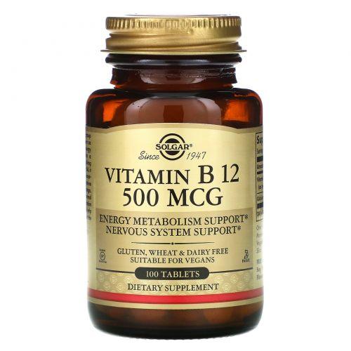 Solgar, Vitamin B12, 500mcg, 100 Tablets