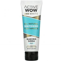 Active Wow, 24K White, All Natural Whitening Toothpaste, Baking Soda + Mint, 4 oz (113 g)