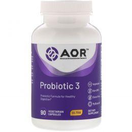 Advanced Orthomolecular Research AOR, Advanced Series,  Пробиотик-3, Натуральная Формула, 90 Капсул
