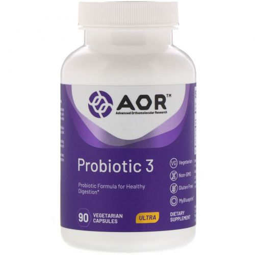 Advanced Orthomolecular Research AOR, Probiotic-3, 90 Capsules