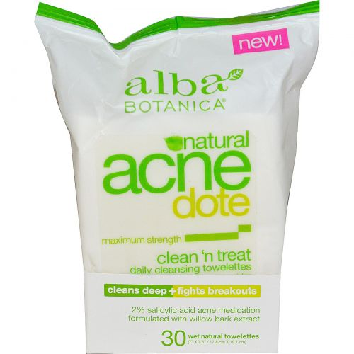"Alba Botanica, Acne Dote, Clean 'n Treat, 10 влажных салфеток, (7""X 7,5""/17,8 см X 19,1 см)"