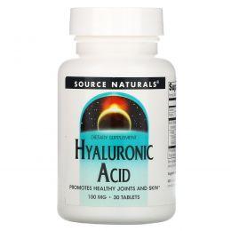Source Naturals, Гиалуроновая кислота, 100 мг, 30 таблеток