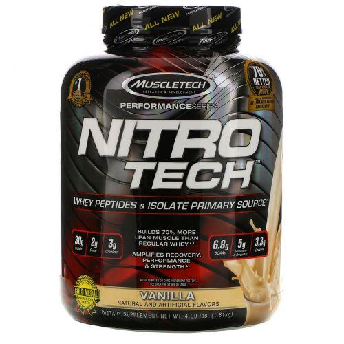 Muscletech, Nitro-Tech, производительная серия, со вкусом ванили, 4 фунта (1.8 кг)