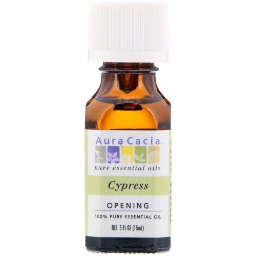 Aura Cacia, 100% чистое эфирное масло, Кипарис, 0,5 жидкой унции (15 мл)