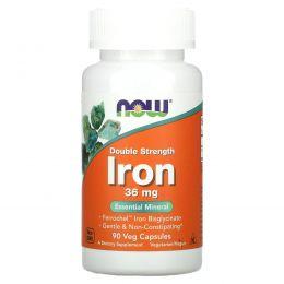 Now Foods, Железо, двойная сила, 36 мг, 90 растительных капсул