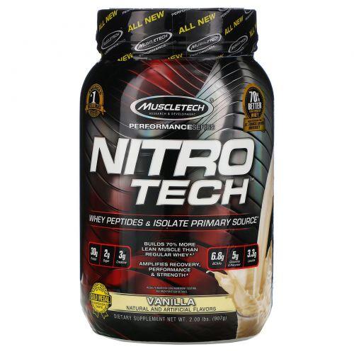 Muscletech, Nitro Tech, сывороточный изолят + наращивание сухой мышечной массы, со вкусом ванили, 2,00 фунта (907 г)