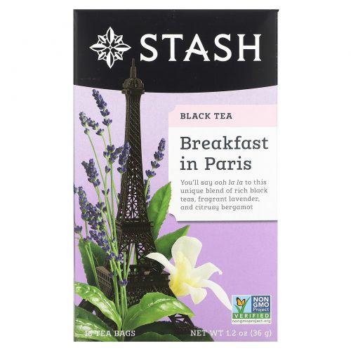 """Stash Tea, Черный чай высшего сорта, """"Завтрак в Париже"""", 18 чайных пакетиков, 1,2 унции (36 г)"""