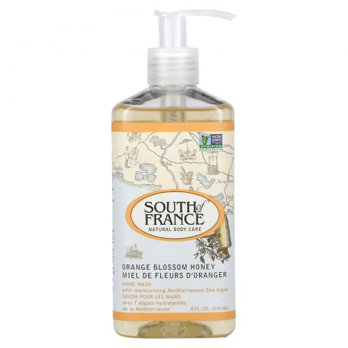South of France, Средство для мытья рук с успокаивающим алоэ вера, соцветиями апельсина и медом, 8 унций (236 мл)