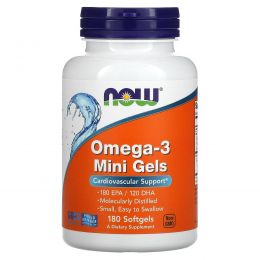 Now Foods, Маленькие гелевые капсулы омега-3, 180 гелевых капсул