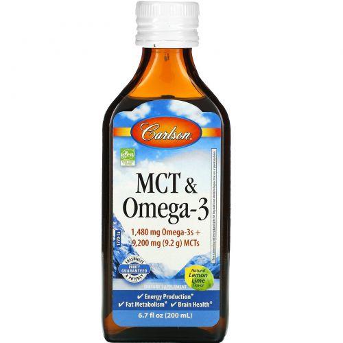 Carlson Labs, MCT & Omega-3, Natural Lemon Lime, 6.7 fl oz (200 ml)