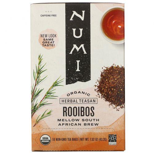Numi Tea, Органический травяной чай без кофеина, Ройбуш, 18 чайных пакетиков, 1,52унции (43,2г)