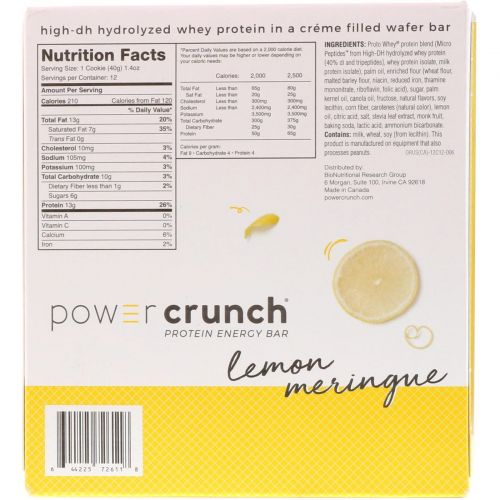 BNRG, Power Crunch Protein Energy Bar,  Lemon Meringue, 12 Bars, 1.4 oz (40 g) Each