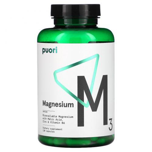 Puori, M3, Magnesium, 120 Capsules