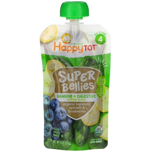 Happy Family Organics, Happy Tot, Super Bellies, Organic Bananas, Spinach & Blueberries, 4 oz (113 g)