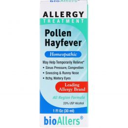 NatraBio, bioAllers, лечение аллергии, поллиноз, 1 жидкая унция (30 мл)