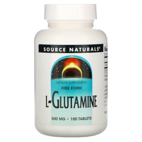 Source Naturals, L-глутамин, 500 мг, 100 таблеток