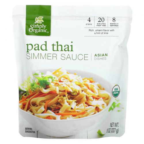 Simply Organic, Asian Dishes, Pad Thai Simmer Sauce, 8 oz (227 g)