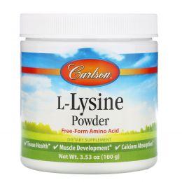Carlson Labs, L-лизин, аминокислота в форме порошка, 100 г