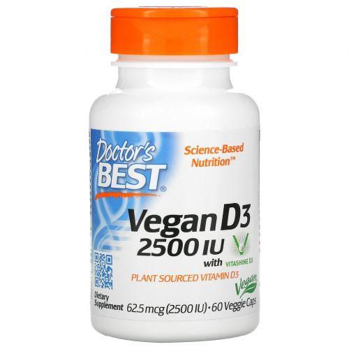 Doctor's Best, Best Vegan D3, витамин D3 из растительных источников, 2500 МЕ, 60 вегетарианских капсул
