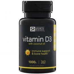 Sports Research, Витамин D3 с кокосовым маслом, 1000 МЕ, 360 мягких таблеток