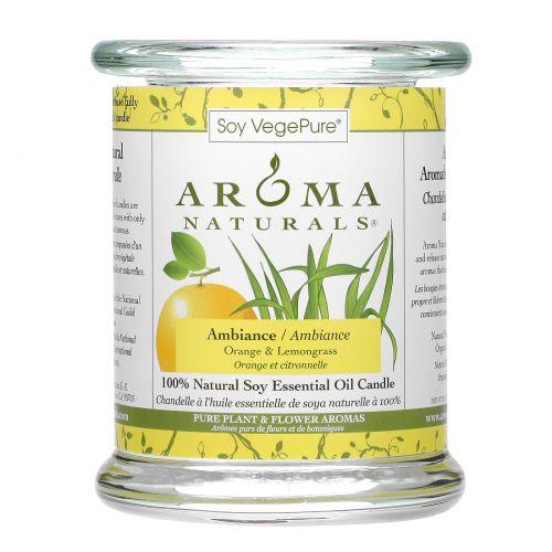 Aroma Naturals, Soy VegePure, 100% Натуральная Свеча Эфирного Масла Сои, Атмосфера, Апельсин и Лимонник 8.8 унции (260 г)