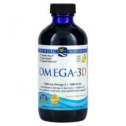Nordic Naturals, Омега-3D, очищенный рыбий жир с витамином D3, лимонный, 8 жидких унций (237 мл)