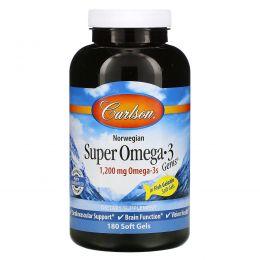 Carlson Labs, Супер драгоценные камни Омега•3, концентрат рыбьего жира, 1000 мг, 180 мягких желатиновых таблеток