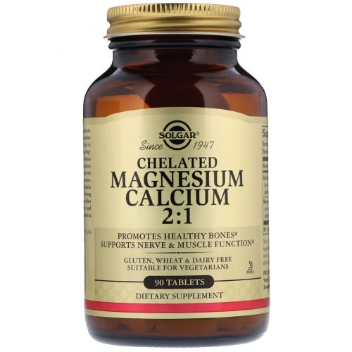 Solgar, Chelated Magnesium Calcium 2:1, 90 Tablets