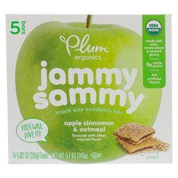 Plum Organics, Kids, Organic Jammy Sammy, органические батончики, яблоко, корица и овсянка, 5 батончиков по 1,03 унции (29 г) каждый